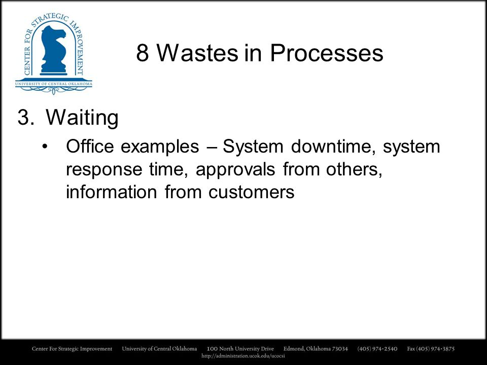 8 Wastes in Processes Waiting