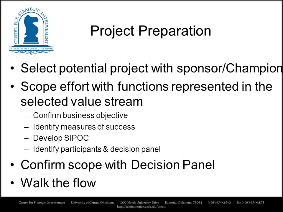 Project Preparation Select potential project with sponsor/Champion