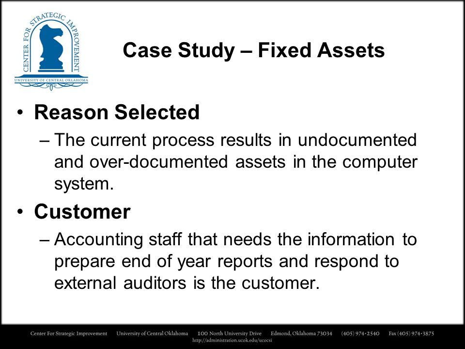 Case Study – Fixed Assets