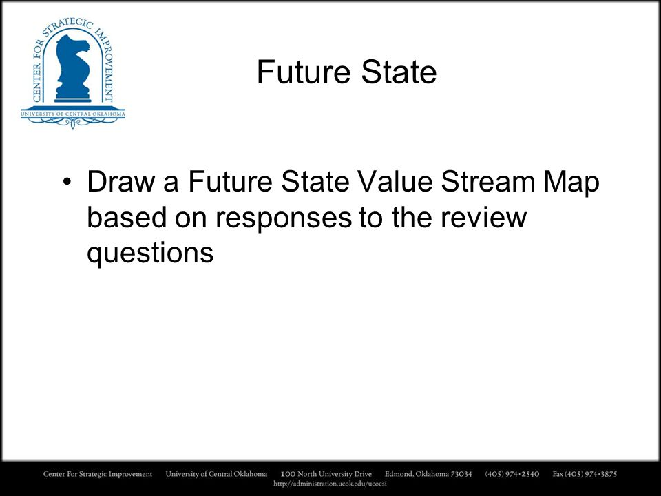 Future State Draw a Future State Value Stream Map based on responses to the review questions
