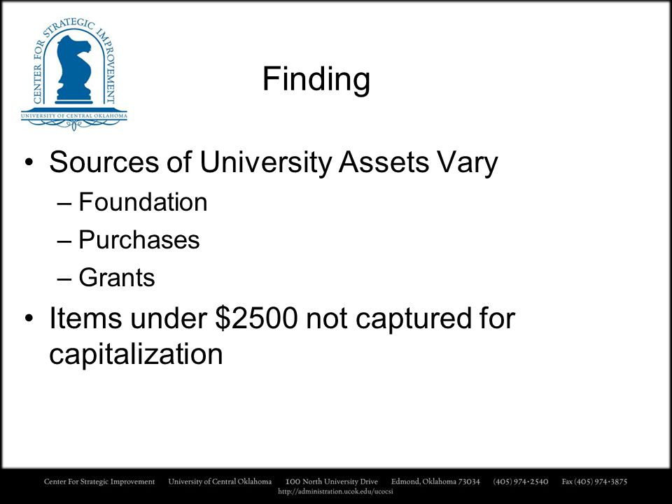 Finding Sources of University Assets Vary