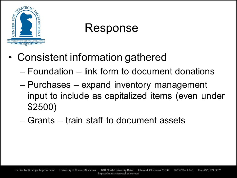 Response Consistent information gathered