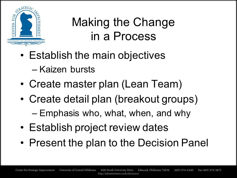 Making the Change in a Process
