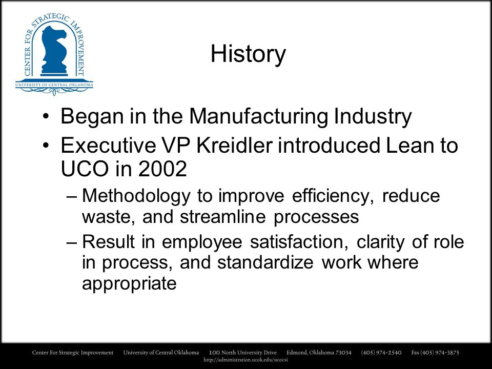 History Began in the Manufacturing Industry