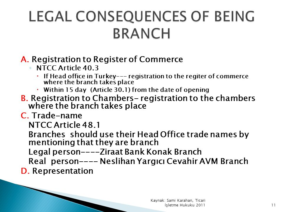 LEGAL CONSEQUENCES OF BEING BRANCH