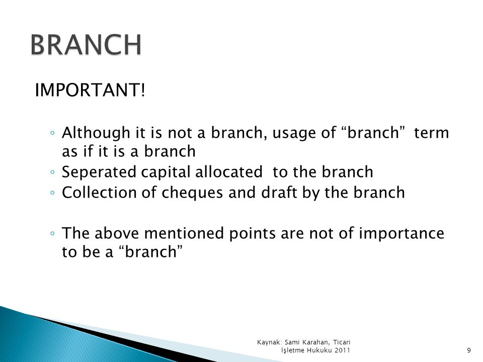 BRANCH IMPORTANT! Although it is not a branch, usage of branch term as if it is a branch. Seperated capital allocated to the branch.