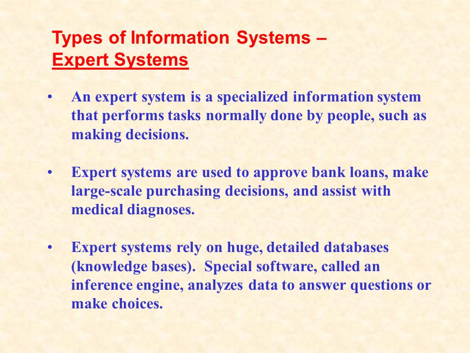 Types of Information Systems – Expert Systems