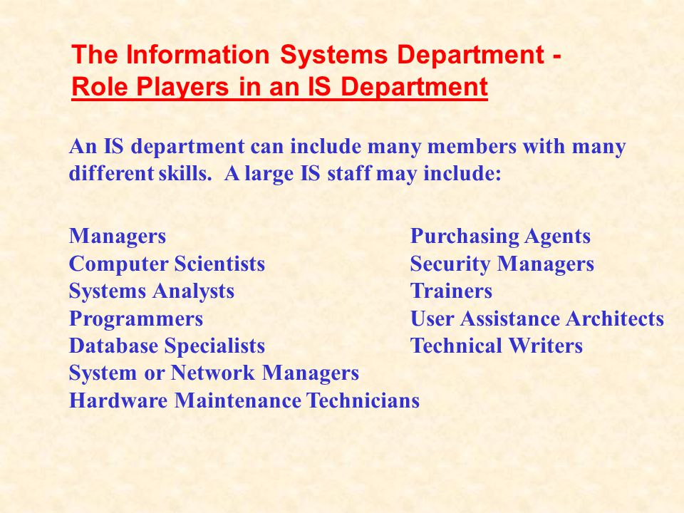 The Information Systems Department - Role Players in an IS Department