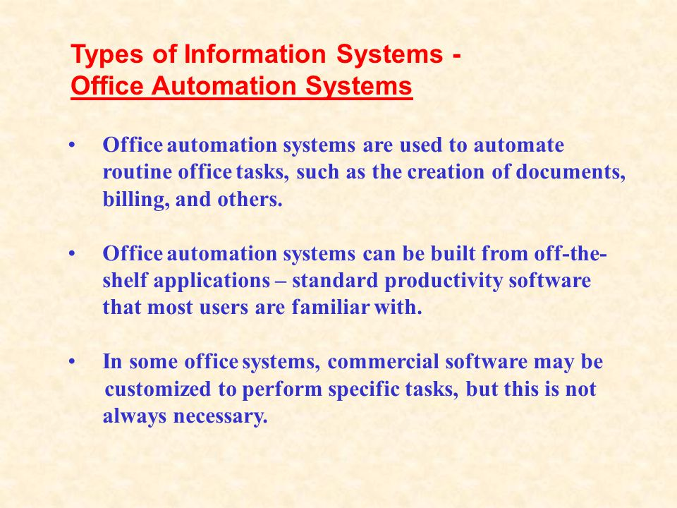 Types of Information Systems - Office Automation Systems