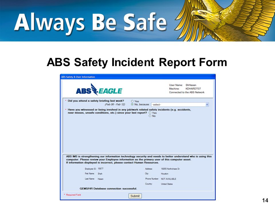 ABS Safety Incident Report Form
