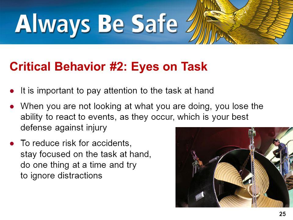 Critical Behavior #2: Eyes on Task