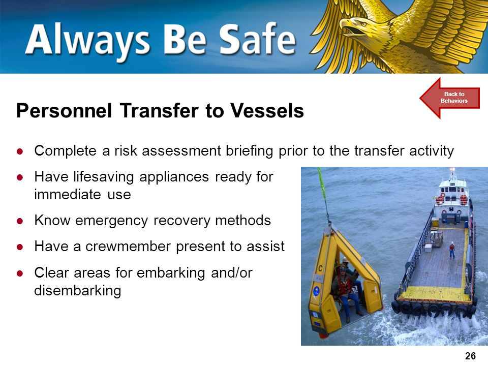 Personnel Transfer to Vessels
