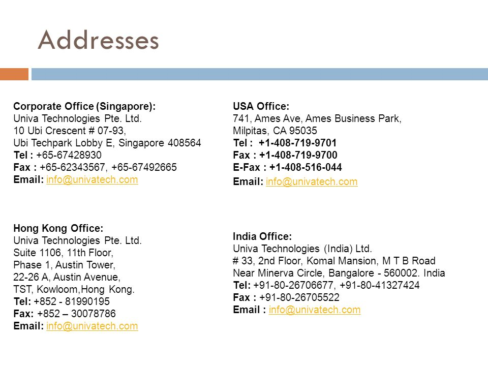 Addresses Corporate Office (Singapore):