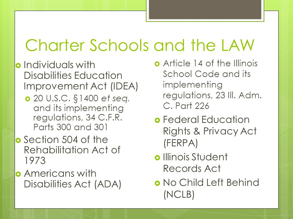 Charter Schools and the LAW