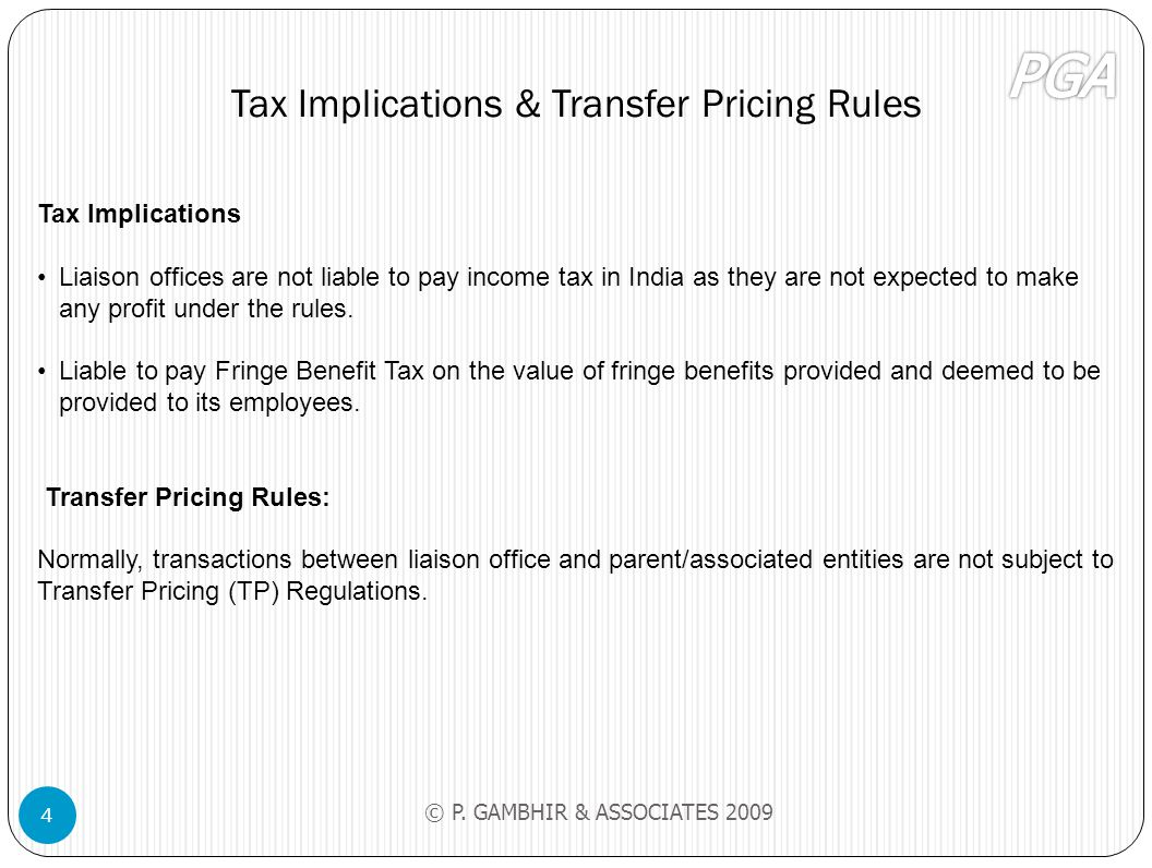 Tax Implications & Transfer Pricing Rules