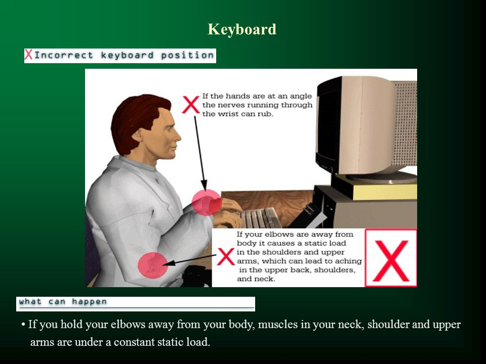Keyboard If you hold your elbows away from your body, muscles in your neck, shoulder and upper.
