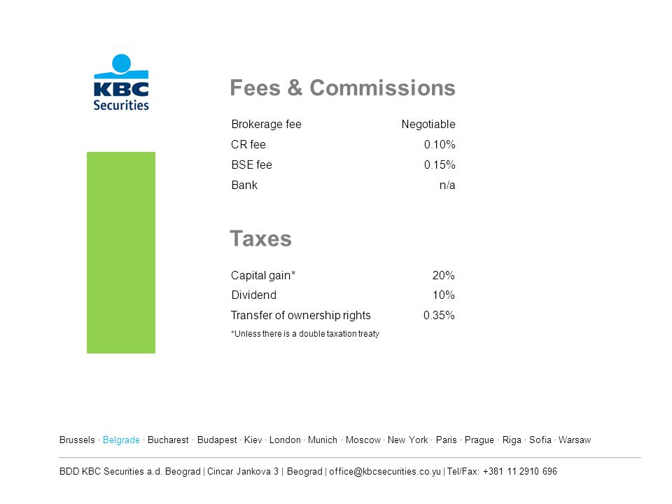 Fees & Commissions Taxes Brokerage fee Negotiable CR fee 0.10% BSE fee
