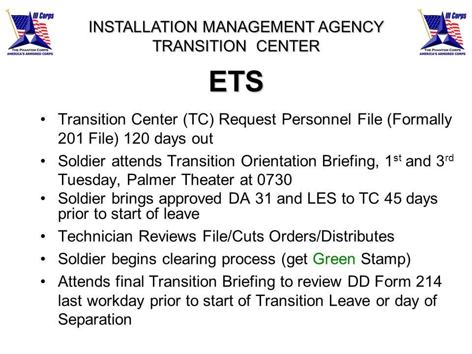 INSTALLATION MANAGEMENT AGENCY TRANSITION CENTER