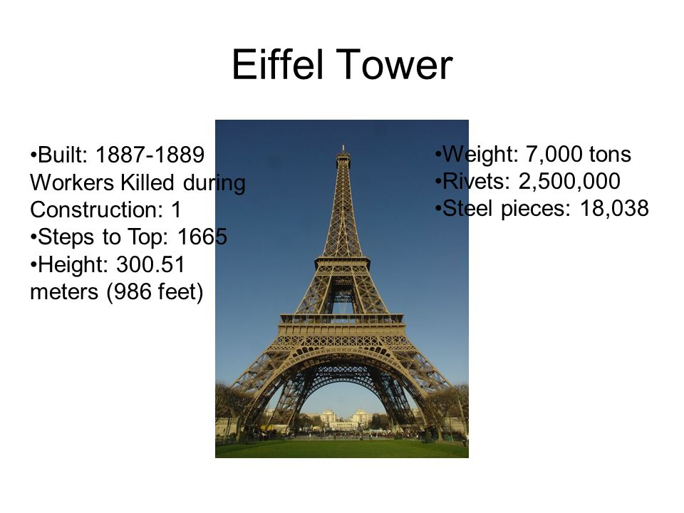Eiffel Tower Weight: 7,000 tons