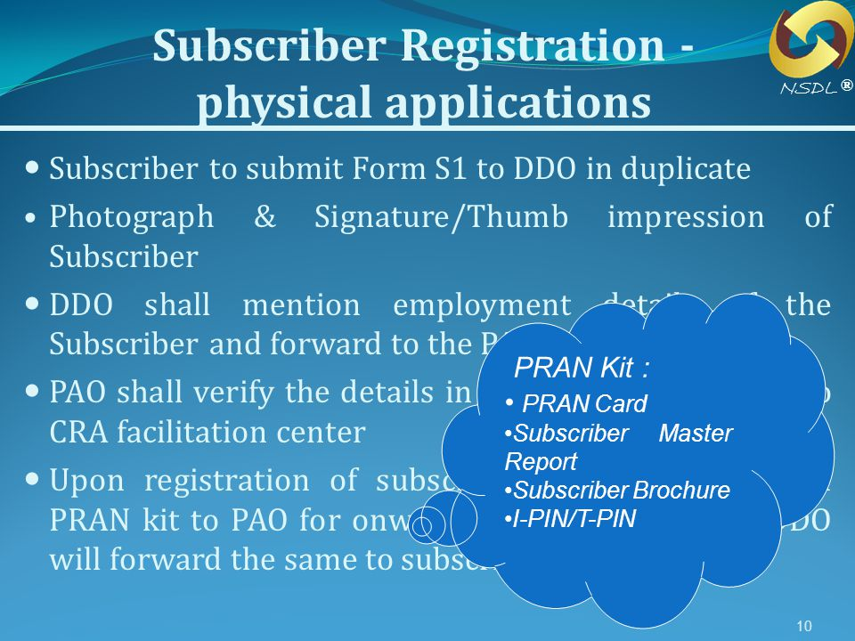 Subscriber Registration -physical applications
