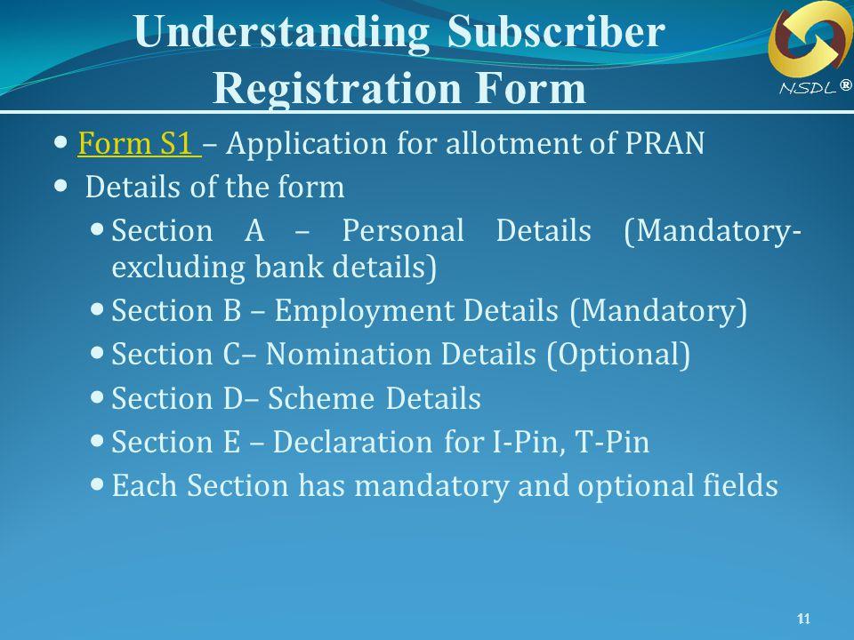 Understanding Subscriber Registration Form