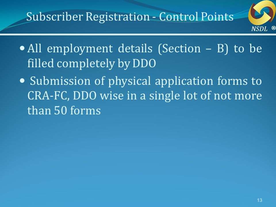 Subscriber Registration - Control Points