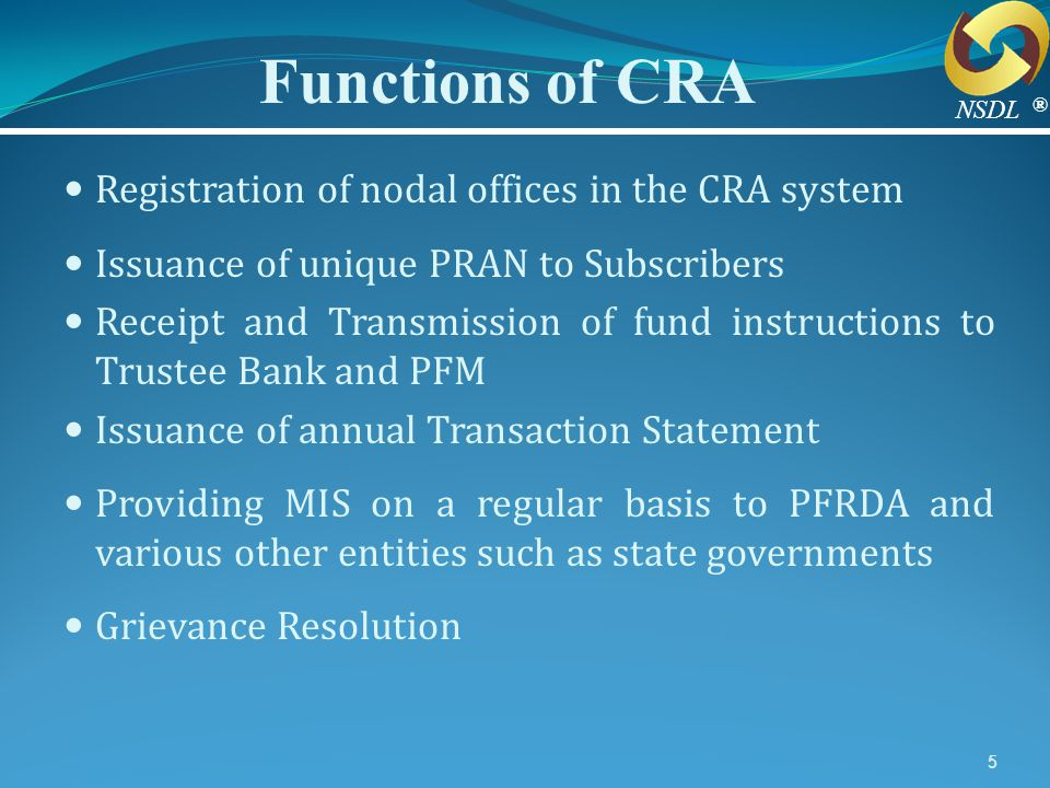 Functions of CRA Registration of nodal offices in the CRA system
