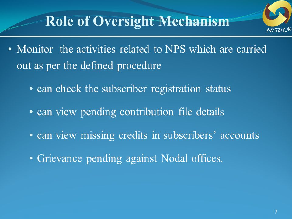 Role of Oversight Mechanism