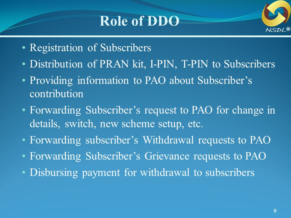Role of DDO Registration of Subscribers