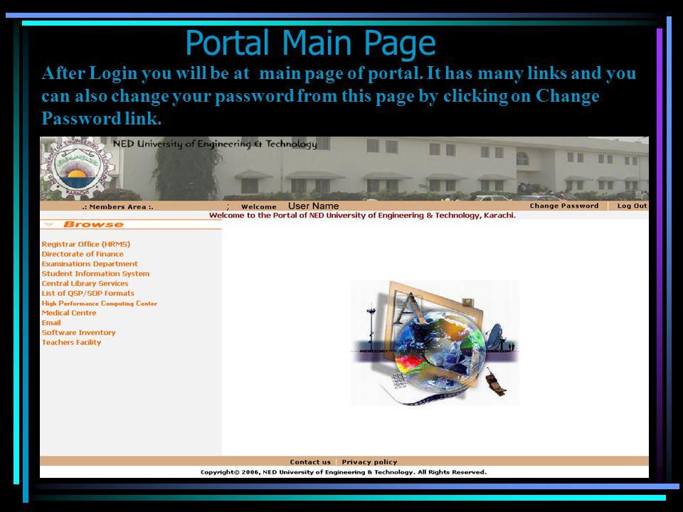 Portal Main Page