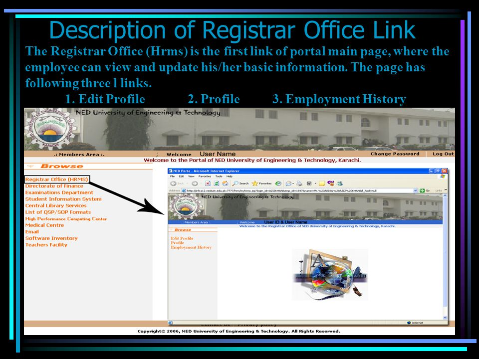 Description of Registrar Office Link