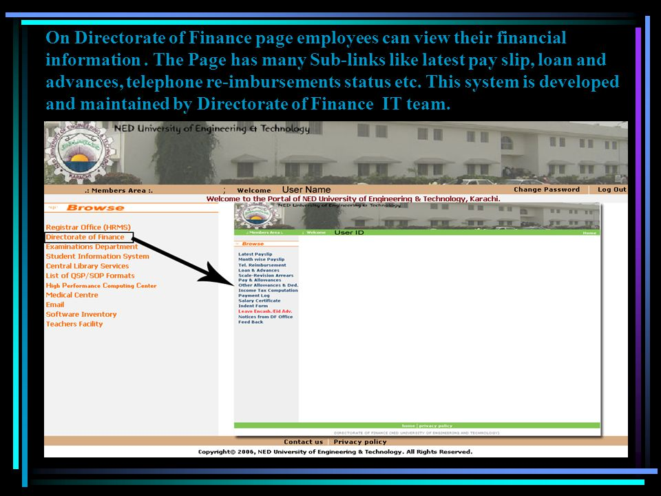 On Directorate of Finance page employees can view their financial information .