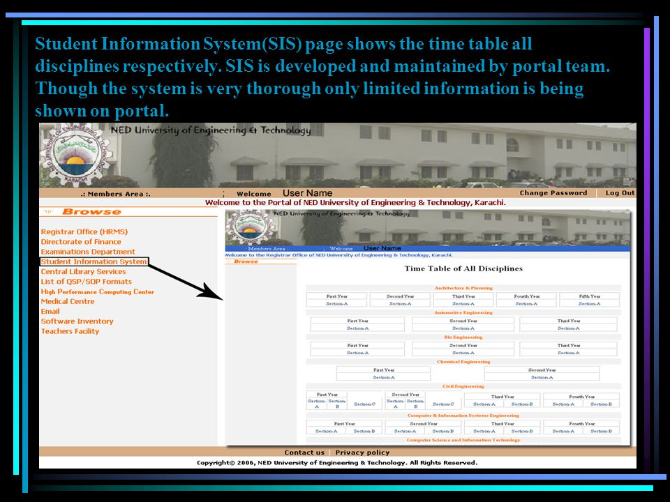 Student Information System(SIS) page shows the time table all disciplines respectively.