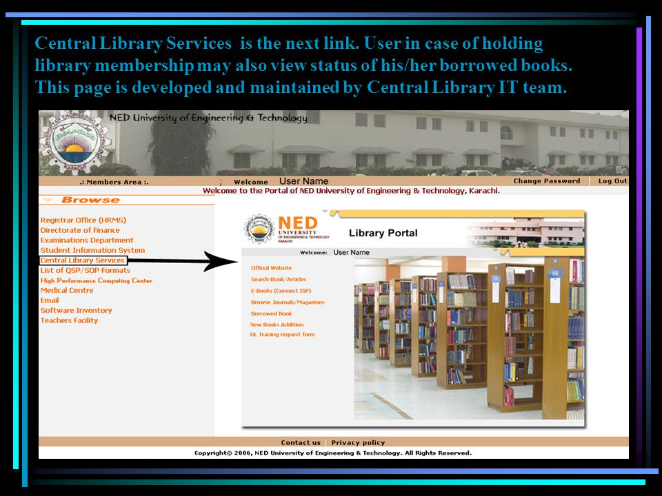 Central Library Services is the next link