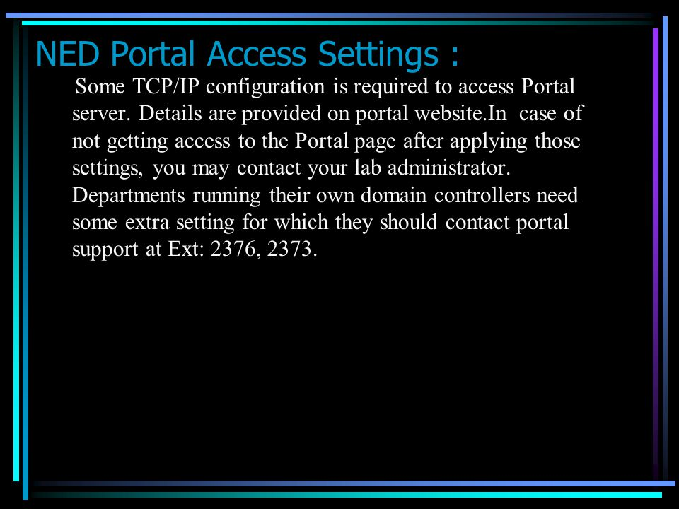 NED Portal Access Settings :