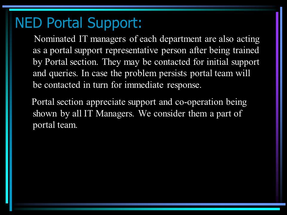 NED Portal Support: