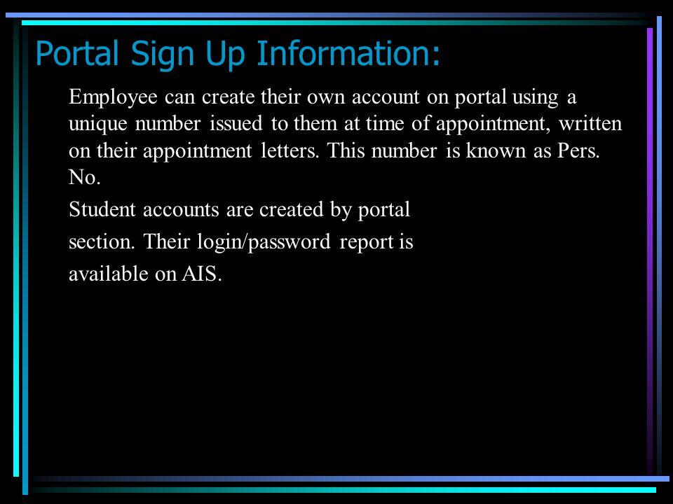 Portal Sign Up Information:
