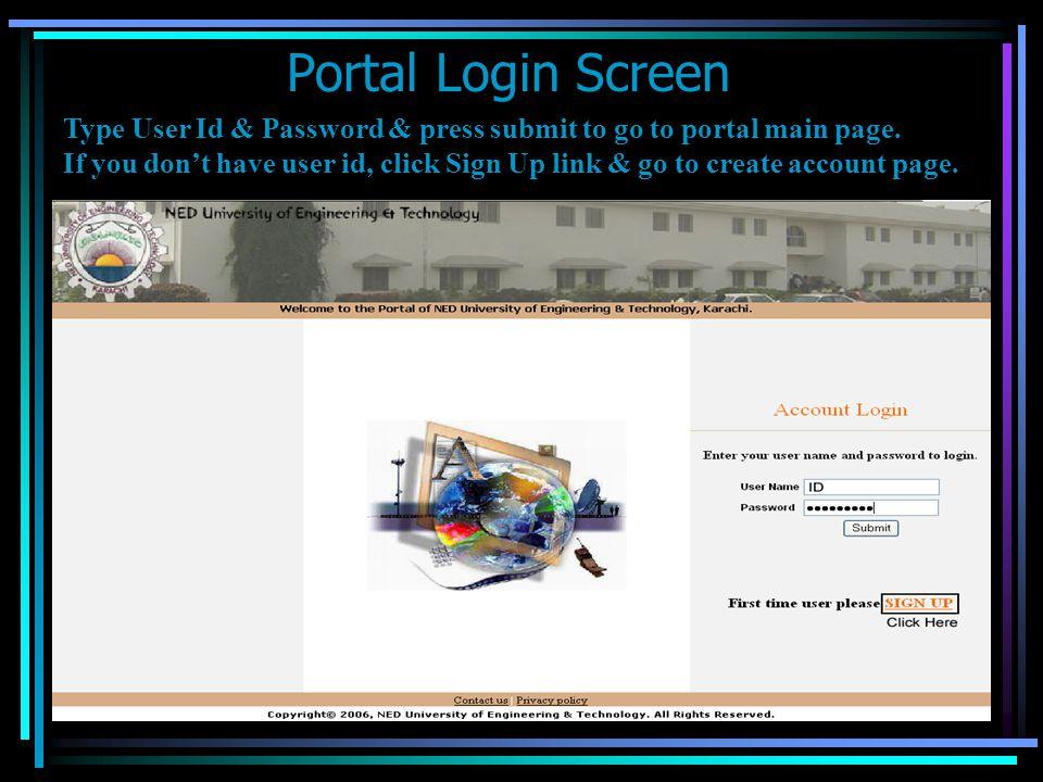 Portal Login Screen