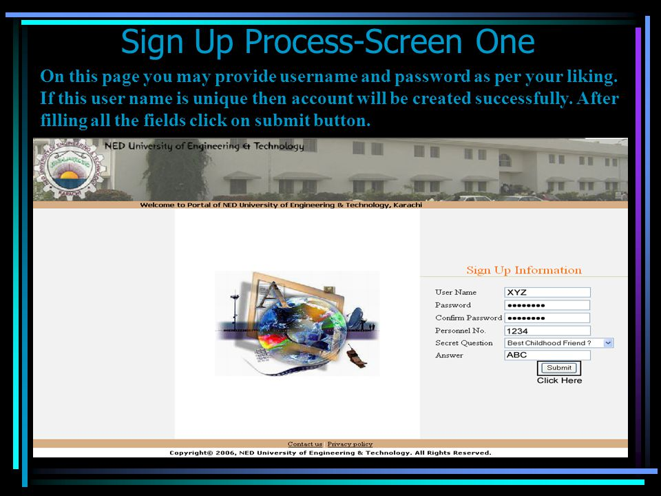 Sign Up Process-Screen One