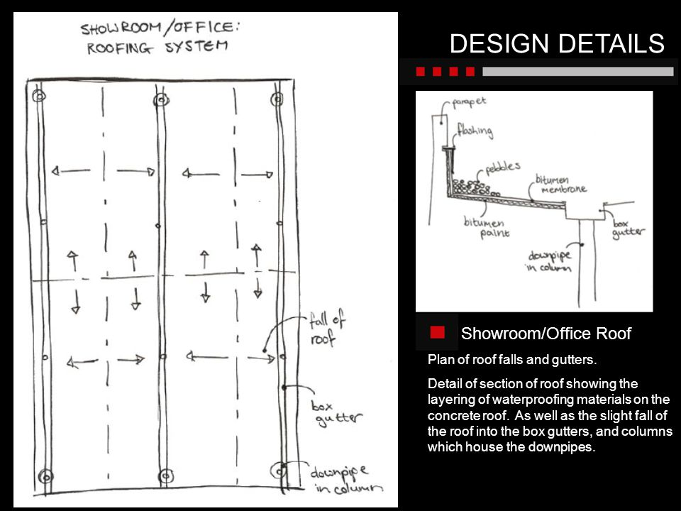 DESIGN DETAILS Showroom/Office Roof Plan of roof falls and gutters.
