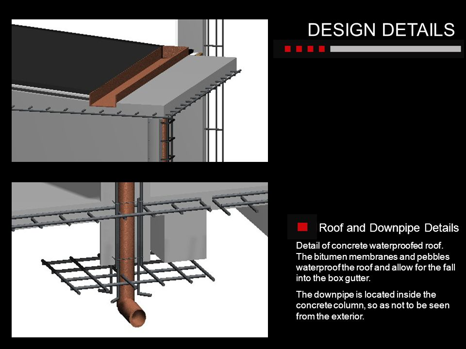 DESIGN DETAILS Roof and Downpipe Details