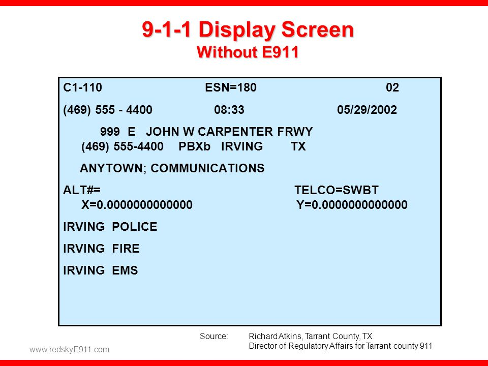 9-1-1 Display Screen Without E911