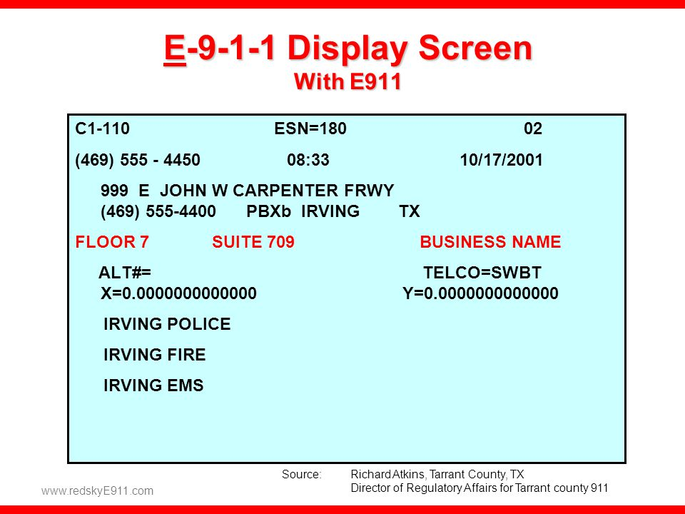 E-9-1-1 Display Screen With E911