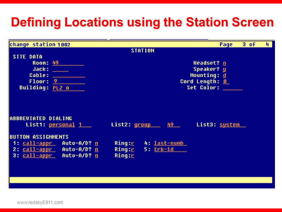 Defining Locations using the Station Screen