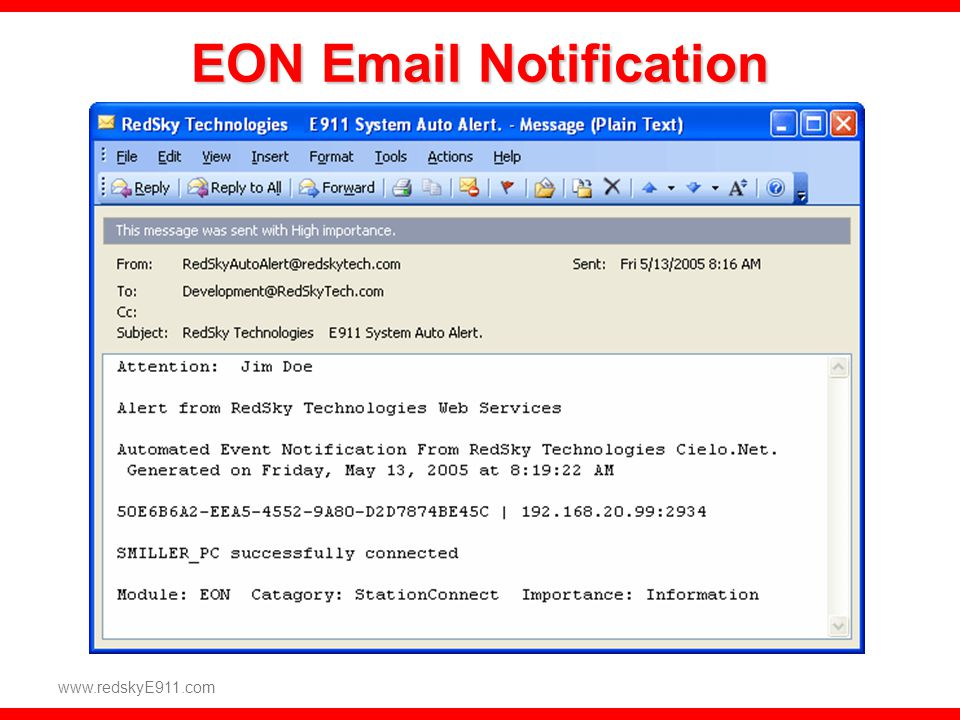 EON Email Notification