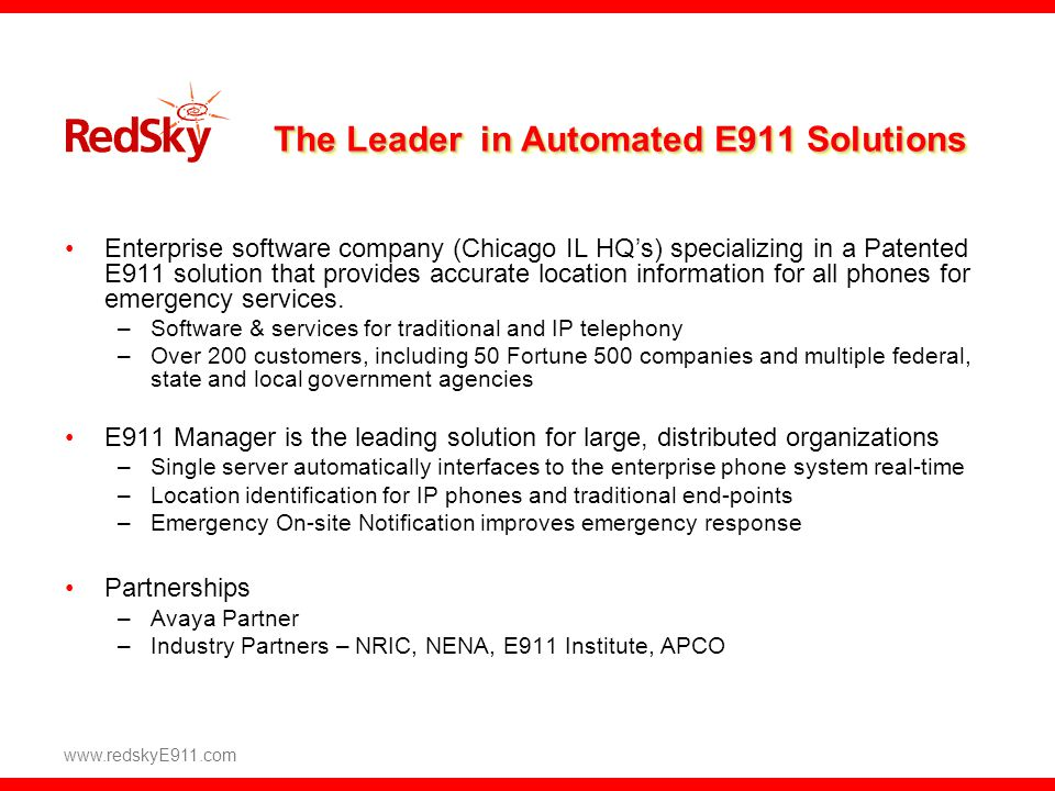 The Leader in Automated E911 Solutions