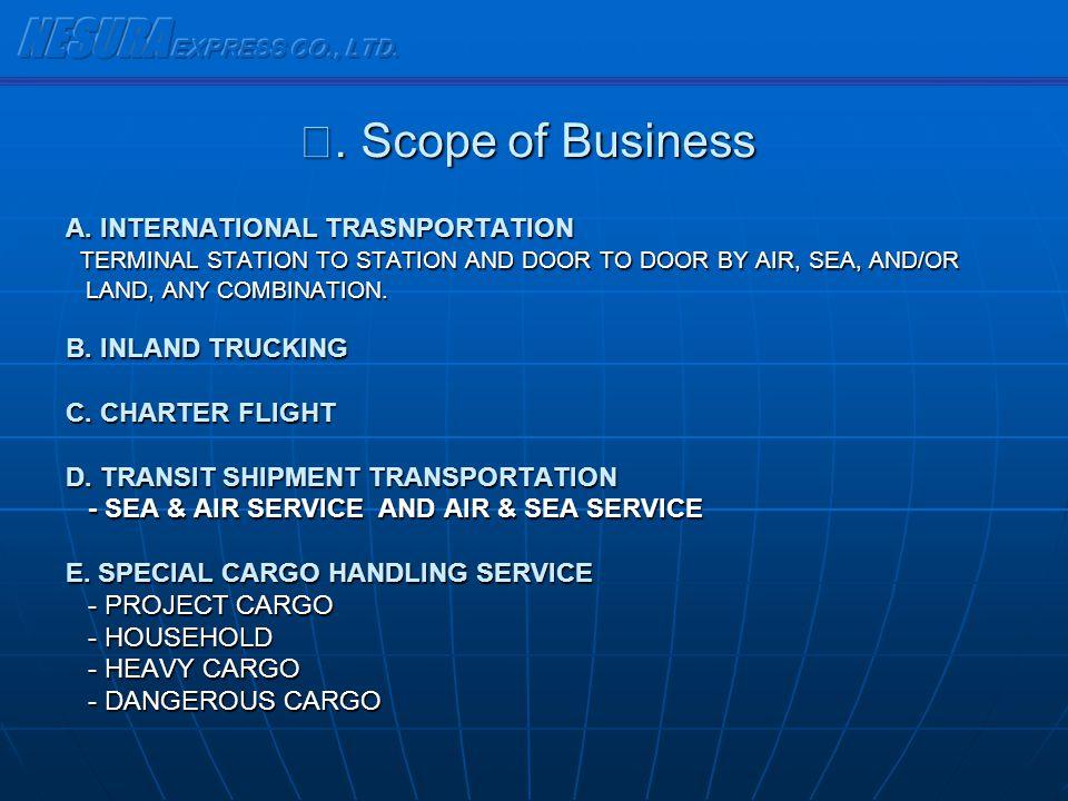 NESURA EXPRESS CO., LTD. Ⅵ. Scope of Business