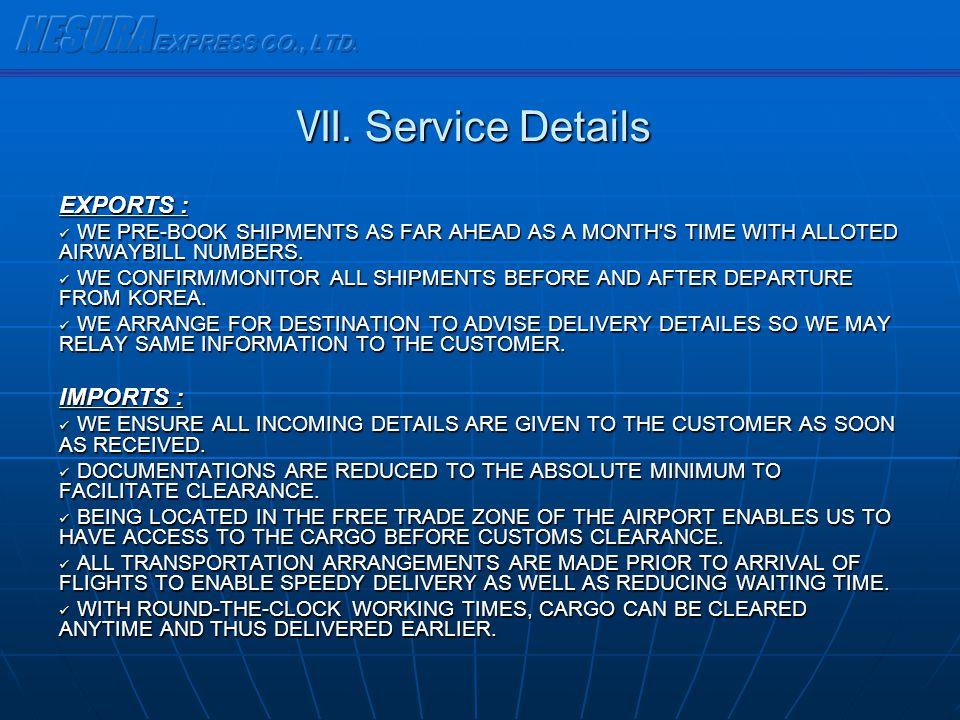 NESURA EXPRESS CO., LTD. Ⅶ. Service Details EXPORTS : IMPORTS :