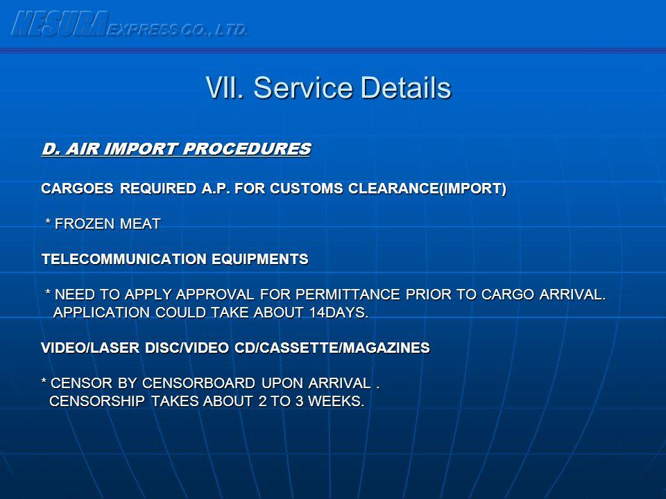 NESURA EXPRESS CO., LTD. Ⅶ. Service Details D. AIR IMPORT PROCEDURES