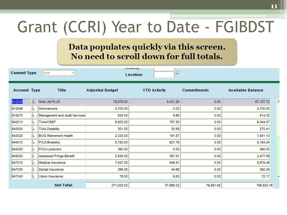 Grant (CCRI) Year to Date - FGIBDST